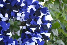 Blue black and white rag wreath by ShuhpuppyAndDeppy on Etsy, $20.00