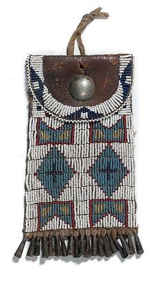 Sioux, Strike-a-Lite, Beaded Hide, Silver Button & Tin Cones, 7 inch. Native American Ancestry, Native American Artifacts, Native American Indians, Native Americans, Indian Beadwork, Native Beadwork, Native American Beadwork, Native Art, Native Indian