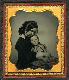 ca. 1860's, [ambrotype portrait of a mother tenderly embracing her child] via Jeffery Kraus Antique Photographics, Ambrotype Collectio...