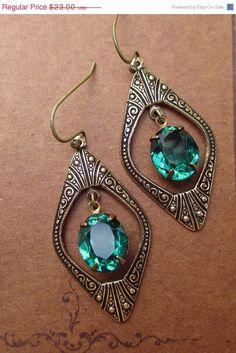 SALE 10% Off Art Deco Jewelry Great Gatsby Earrings Emerald Green May Birthstone Downton Abbey Jewellery Bridesmaid DECO DIVA Emerald via Etsy