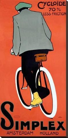 VINTAGE 1915 DUTCH SIMPLEX BICYCLE POSTER Stretched Canvas Print by Archivea Arts at Art.com