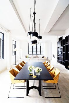 Stunning Steel Windows Black Dining Room Table Mustard Yellow Chairs
