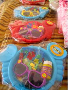 Party favors... bubbles, sunglasses, hawaiian lei...