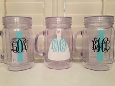 monogrammed bride and bridesmaid mason jar tumblers