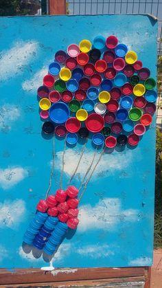 Cute, Ez & Fun DIY Wandkunst 4 Me & the Kiddos 2 Do mit alten Kunststoff ., Cute, Ez & Fun DIY Wandkunst 4 Me & the Kiddos 2 Do mit alten Kunststoff . Bottle Top Art, Bottle Top Crafts, Bottle Cap Projects, Diy Bottle, Beer Bottle, Plastic Bottle Caps, Plastic Art, Recycled Crafts, Diy Wall Art
