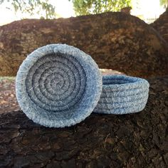 Hand Stitched Basket  Mini Light Blue/Grey by eliseheatherdesigns