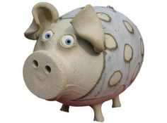 Polkadot Piggybank | hand-made pottery from Muggins Pottery in Leicestershire - wedding gifts, birthday presents, christening presents and anniversary gifts.
