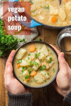 Creamy, classic potato soup goes dairy-free! This vegan potato soup is easy to make, totally meal-worthy, and super comforting. Perfect for dinner on a chilly night! #veganrecipes #vegansoup #potatosoup