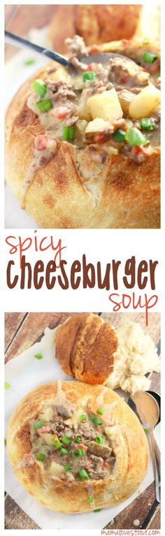 Spicy Cheeseburger and Potato Soup - an easy and delicious meal that comes together in just minutes.  If you use a bread bowl from the market, make sure to warm it in the oven before serving for extra YUM!
