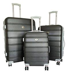 bd76eebde 3Pc Luggage Set Hardside Rolling 4Wheel Spinner Upright Carryon Travel Dark  Gray