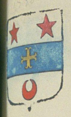 Jean Baptiste DE GROU, conseiller du roy, commissaire général des saisies réelles en Provence. Porte : d'argent, à une face d'azur, chargée d'une croix ancrée d'or, et accompagnée en chef de deux étoiles de gueules, et en pointe d'un croissant de gueules | N° 1750