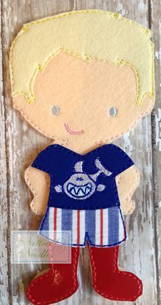 Playing Hard Play Outfit for Felt Doll by NettiesNeedlesToo, $6.00