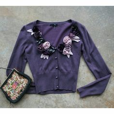 MODCLOTH . purple flower cardi . size s . Modcloth . ryu . small  . plum purple . button up cardigan . flower embellishment  . excellent used shape. Has very slight  signs of wear ModCloth Sweaters Cardigans