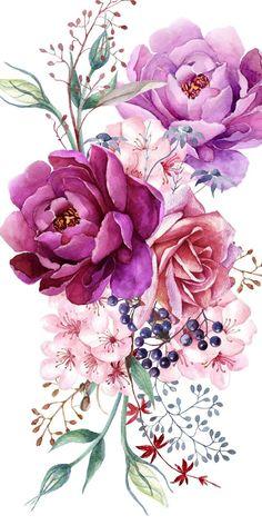 # Case # Cases # Art # Design # Pattern - Flower Tattoo Designs - Tattoo World Pastell Tattoo, Watercolor Flowers, Watercolor Paintings, Watercolor Flower Tattoos, Watercolors, Aquarell Tattoos, Upper Arm Tattoos, Purple Peonies, Flower Tattoo Designs