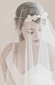 Enchanted Atelier {Alessandra} Floral Halo and {Poeme} French Tulle Veil    {Image Credit: Emme Wynn Photography; Gown by Sareh Nouri; MUA Liz Wegrzyn; Model Leanne Hyer}
