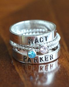 Personalized Stackable Birthstone Ring Set by kandsimpressions