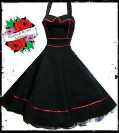 Hearts & Roses London Black Halter Swing Retro Vintage Rockabilly Pin Up Dress, Bridesmaids??