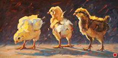 Chicks in the Evening by Cheri Christensen Oil ~ 6 x 12