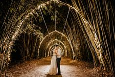 Night Photos in Bamboo Forest, Garden Wedding in Queensland. Boho luxe wedding dress and large bridal party. Ceremony and reception venue Laloli Gardens, Cairns. Forest Wedding, Garden Wedding, Luxe Wedding, Wedding Day, Large Bridal Parties, V Hair, Forest Garden, Night Photos, Cairns
