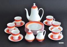 Melitta-Rom-Porzellan-Geschirr-Kaffeeservice-21-tlg-orange-rot-weiss-70er-Jahre