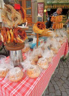 Fresh street pretzels in Strasbourg, France
