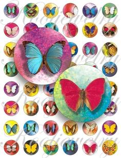 Bottle Cap Image Sheets vintage | Great butterflies images for bottle caps, pendant, buttons, scrapbook ...