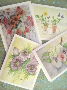 Floral watercolor card set by GerdasGarden on Etsy.