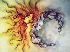 Sun and moon tattoo idea