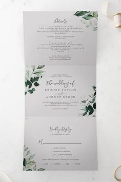 Emerald Greenery   Gray Photo Wedding All In One Tri-Fold Invite with dark green moody watercolor leaves and eucalyptus with a modern woodland boho feel on a light silver grey background. Click to customize with your personalized details today. Fall Wedding Invitations, Beautiful Wedding Invitations, Watercolor Leaves, Floral Watercolor, Letter Folding, Wedding Planning Inspiration, Reception Signs, Stationery Set, Tri Fold