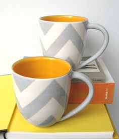 Buckley Chevron Mug in Grey and Butter Interior by jillrosenwald, $80.00 @Corrine Toracchio Toracchio Counts....i literally found them in 3 seconds, but the price will rape you