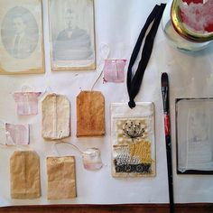 On my worktable today - preparations for little stitched pieces and one finished one