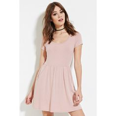 Forever 21 Women's  Fit & Flare Pocket Dress ($13) ❤ liked on Polyvore featuring dresses, pocket dress, forever 21, sleeve dress, pink ruched dress e ruching dress