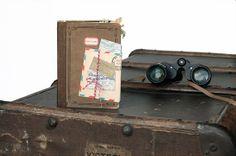 Premade travel scrapbook mini album /  vintage travel journal / field notes