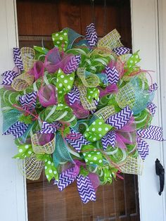 Spring and Summer Deco Mesh Wreath by Wreaths2theRescue