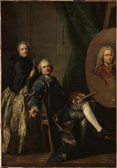 Louis-Michel van Loo, self-portrait with his sister and portrait of his late father, 1762