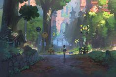 Wallpaper street, anime, art, nauimusuka images for desktop, section Art And Illustration, Arte Inspo, Kunst Inspo, Fantasy Landscape, Landscape Art, Fantasy Kunst, Fantasy Art, Anime Kunst, Anime Art