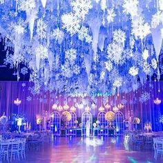 Snowflakes & Icicles Ceiling Decor Modern is part of Diy winter wedding - Snowflakes & Icicles Ceiling Decor Snowflakes & Icicles Ceiling Decor Winter Wonderland Wedding Theme, Winter Wonderland Decorations, Winter Wedding Decorations, Wonderland Party, Winter Themed Wedding, Christmas Ceiling Decorations, Winter Wonderland Ball, Winder Wonderland, Wedding Ceiling Decorations