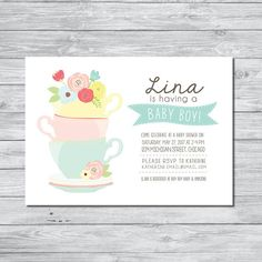 tea party baby shower invitation baby shower invitation tea party invitation custom invitation