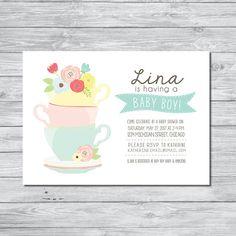 Tea Party Invitation Baby Shower, Digital Invitation