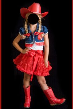 RWB Cowgirl Costume Denim Jacket Red Sequin Skirt Red Boots Pageant Size 4 6 | eBay