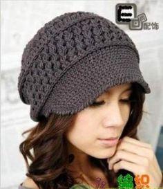 Hat with brim, crochet beanie with visor, newsboy cap Free Crochet Pattern Hat Crochet Adult Hat, Bonnet Crochet, Crochet Cap, Crochet Beanie, Love Crochet, Diy Crochet, Crochet Crafts, Crochet Stitches, Crochet Projects