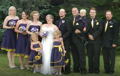 Purple and yellow silks.
