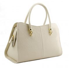 Italian Made, Genuine Leather Handbag - Mari White Sky