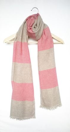 手織り大判ストール カシミアメリノブレンド ピンクのボーダー