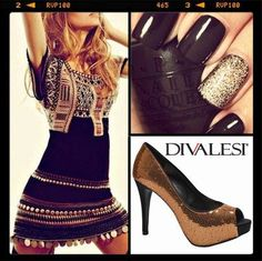 Combinação perfeita para a noite! #festa #look #brilho #fashion #moda #sapato