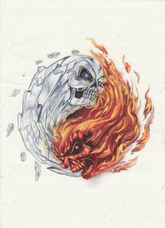Fire and Ice Yin Yang Skulls by juliet2020