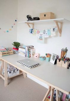 18 Trendy home office studio room ideas work spaces Office Organization At Work, Home Office Storage, Craft Room Storage, Desk Storage, Room Organization, Office Ideas, Storage Ideas, Study Table Designs, Kid Desk