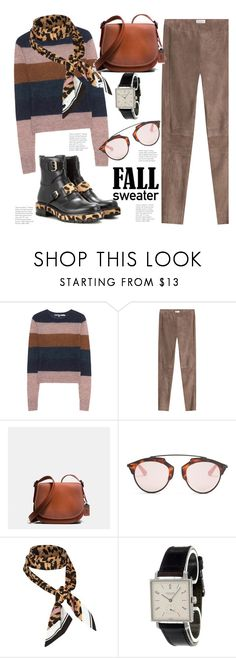 """Fall Sweater and a Touch of Leopard.."" by hattie4palmerstone ❤ liked on Polyvore featuring Pam & Gela, Brunello Cucinelli, Coach, Christian Dior, River Island, Nomos and Francesco Russo"