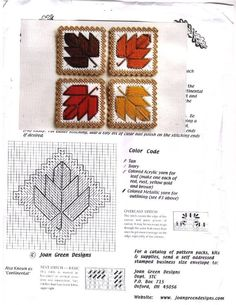 Autumn Leaves Coasters, plastic canvas needlepoint                                                                                                                                                                                 More