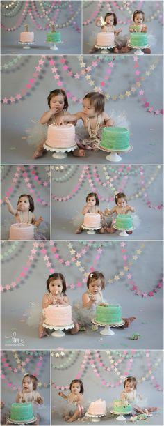 twin girls stars cake smash first birthday photos